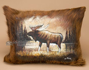 Painted Cowhide Pillow - Moose