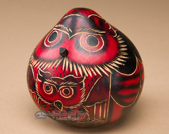 Hand Carved Gourd Rattle-Red Owl