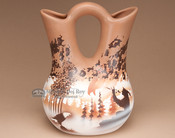 "Navajo Pottery Clay Wedding Vase 8"" -Flute Player (T2)"
