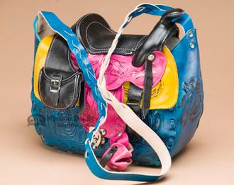Multicolored Hand Tooled Leather Saddle Purse
