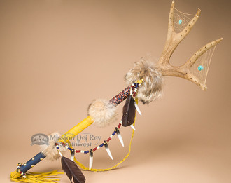 Native American Beaded Antler Spirit Stick 33""