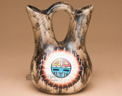 Hand Painted Sun Face On Horse Hair Wedding Vase
