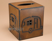 Rustic metal tissue box cover - Camper.