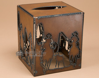 Western metal art - tissue box cover.