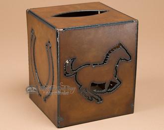 Rustic western metal art tissue box.
