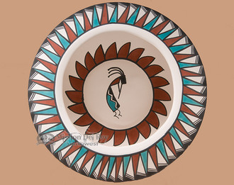 Tigua Painted Feather Bowl - Kokopelli (Looking Down)