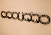 "Rustic Western Metal Art Coat Rack 24.5"" -horse shoes"