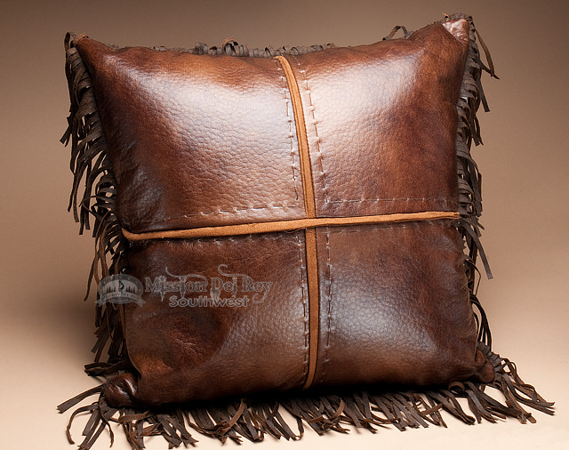 How To Make A Leather Throw Pillow : Western Designer Faux Leather Pillow 18x18 (wp23) - Mission Del Rey Southwest