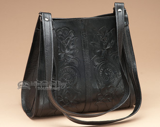Black Tooled Leather Purse.