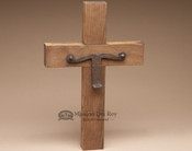 Rustic Wood & Iron Wall Cross - Longhorn