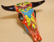 Hand Painted Talavera Pottery Steer Skull