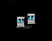 Square Inlaid Stud Earrings - Zuni
