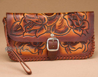 Western Tooled Leather Wallet Clutch