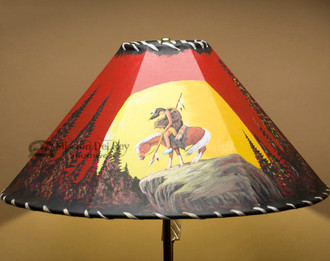 Southwest Painted Leather Lampshade - End of Trail