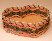 Amish Handmade Heart Basket - Green