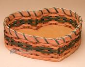 Amish Handmade Heart Basket - Green