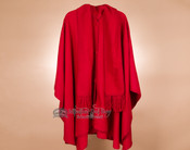 100% Brushed Alpaca Cape with Scarf - Red