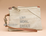 Old Style Canvas Wristlet Pouch Bag