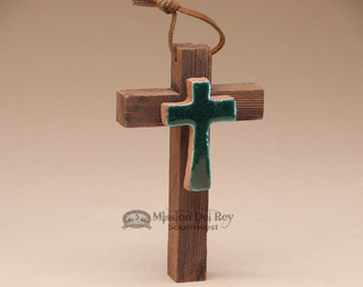 Wooden and Saltillo Tile Cross - Green Cross