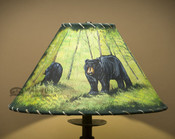 """16"""" Painted Leather Lamp Shade - Bears"""