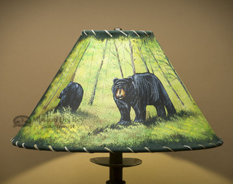 "16"" Painted Leather Lamp Shade - Bears"