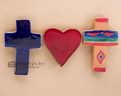 Hand Glazed Saltillo Tile Cross & Heart Magnet Set