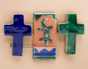 Glazed Saltillo Tile & Cross Magnet Set
