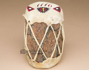 Hand Painted Log Drum - Bear Paw