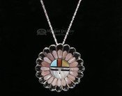 Native American Sunface Pin/Pendant Silver Necklace Set 20""
