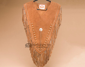 Fringed Leather Bear Paw Dance Shirt -Front