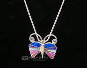 Navajo Indian Butterfly Pin/Pendant Silver Necklace 18""