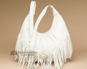 Southwestern Leather Concho Purse - Off White