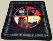 "Native Style Luxury Plush Blanket 79""x94""- Medicine Wheel (bl26)"