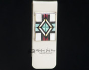 Sterling Silver Zuni Indian Money Clip - Inlaid Stones