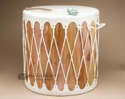Tarahumara Indian Cedar Light Hide Drum Table