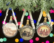 Western 3pc Canteen Christmas Ornament Set