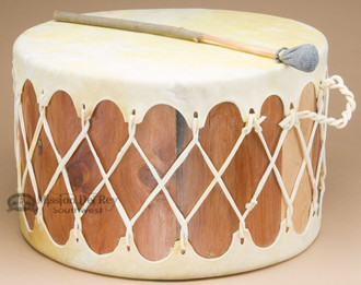 Tarahumara Cedar Drum Table - Light Cowhide