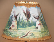 "Painted Leather Lamp Shade 8"" -Indian Village"