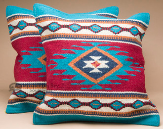 Pair Southwest Wool Pillow Covers 18x18 -Zia Style - Mission Del Rey Southwest