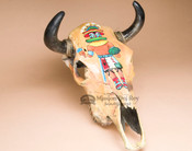 Southwestern Hand Painted Steer Skull - Kachina