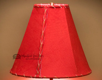 """Western Red Leather Lamp Shade - 12"""" Bell"""
