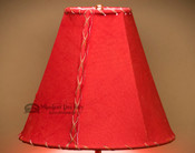 "Western Red Leather Lamp Shade - 12"" Bell"