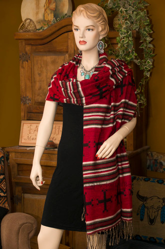 Southwestern Woven Navajo Cross Shawl -Scarf Style Over One Shoulder