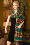 Southwestern Woven Shawl Hopi Turquoise -Scarf Style