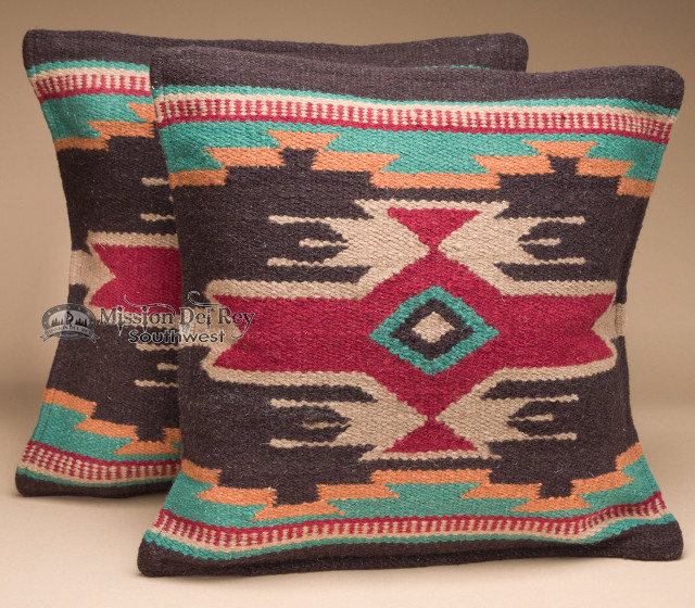 Pair Wool Southwestern Pillow Covers 18x18 (wpc6) - Mission Del Rey Southwest