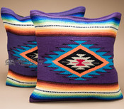 Pair Serape Southwest Pillow Covers 18x18 -Purple
