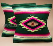 Pair Southwestern Serape Pillow Covers -Green