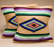 Pair Serape Style Pillow Covers -Tan