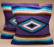 Pair Serape Style Pillow Covers -Purple