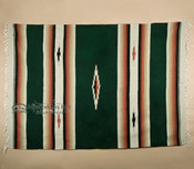 Woven Southwestern Style Diamond Blanket 5x7 -Green